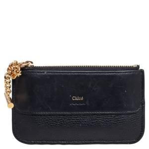 Chloe Black Leather Zip Card Holder