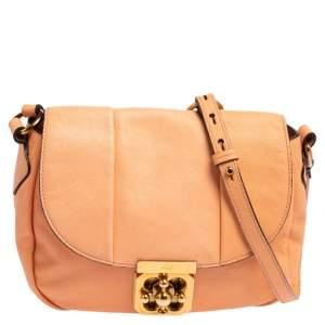 Chloe Peach Leather Elsie Shoulder Bag