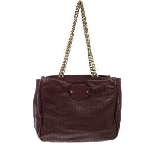 Chloe Burgundy Leather Chain Tote