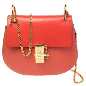 Chloe Coral Orange Leather Medium Drew Shoulder Bag