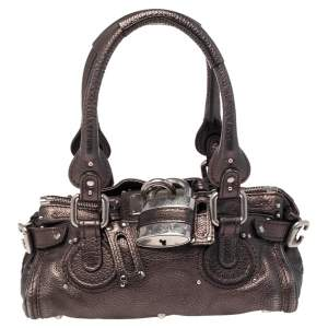 Chloe Metallic Brown Leather Mini Paddington Bag
