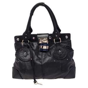 Chloe Black Leather Plexo Paddington Tote
