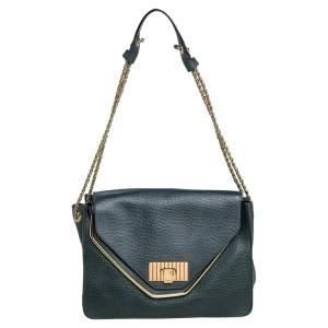 Chloe Petroleum Green Leather Medium Sally Flap Shoulder Bag