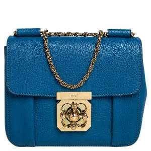 Chloé Blue Leather Small Elsie Shoulder Bag