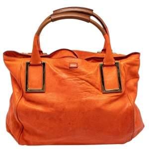 Chloe Orange Leather Large Ethel Tote