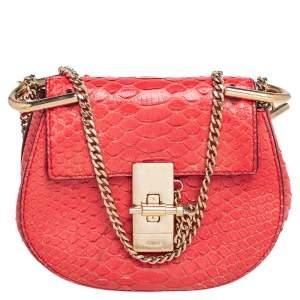 Chloe Red Python Nano Drew Shoulder Bag