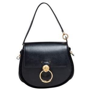Chloe Black Leather and Suede Tess Flap Top Handle Bag
