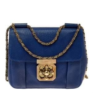 Chloe Blue Leather Small Elsie Shoulder Bag