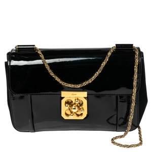 Chloe Back Patent Leather and Suede Medium Elsie Shoulder Bag