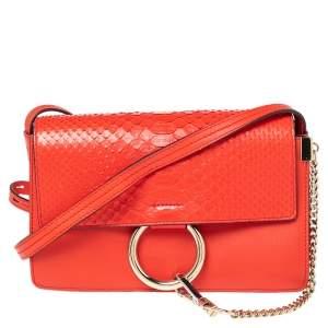 Chloe Orange Leather and Python Small Faye Shoulder Bag