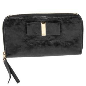 Chloe Black Leather Bow Zip Around Wallet