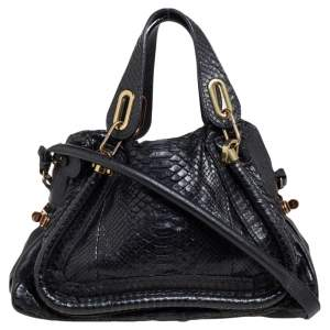 Chloe Black Python and Leather Medium Paraty Shoulder Bag