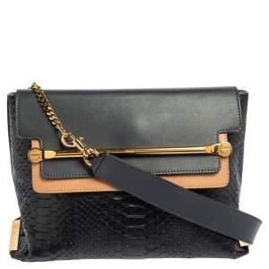 Chloe Tri Color Python and Leather Medium Clare Shoulder Bag