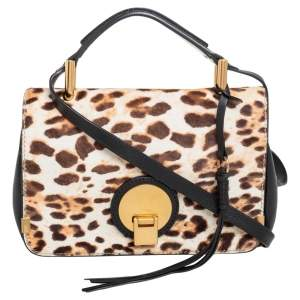 Chloe Black/Brown Leopard Print Calfhair and Leather Small Indy Top Handle Bag