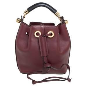 Chloe Burgundy Leather Gala Bucket Bag