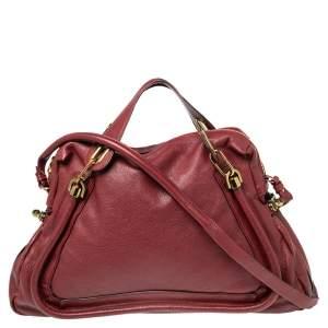 Chloe Burgundy Leather Large Paraty Shoulder Bag