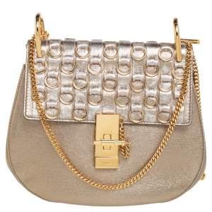 Chloe Metallic Gold Leather Medium Drew Ring Embellished Shoulder Bag