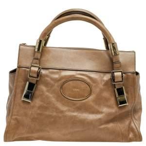 Chloe Brown Leather Zip Satchel