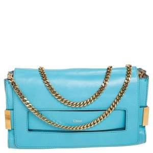 Chloe Blue Leather Small Elle Shoulder Bag