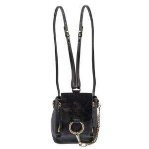 Chloe Black Leather and Suede Mini Faye Day Backpack