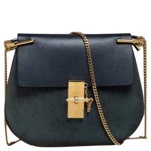 Chloe Grey/Green Leather and Suede Medium Drew Shoulder Bag