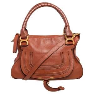 Chloe Brown Pebbled Leather Marcie Satchel