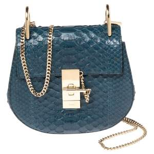 Chloe Blue Python Small Drew Shoulder Bag