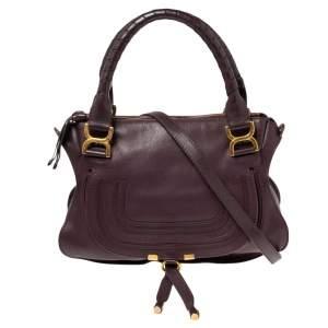 Chloe Burgundy Leather Medium Marcie Satchel
