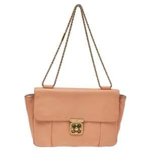 Chloe Peach Leather Large Elsie Shoulder Bag