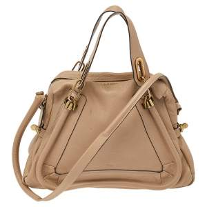 Chloe Beige Leather Medium Paraty Shoulder Bag