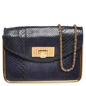 Chloe Navy Blue Python Leather And Suede Small Sally Shoulder Bag