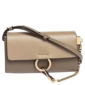 Chloe Taupe Leather Mini Faye Shoulder Bag