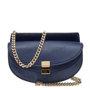 Chloe Blue Leather Georgia Shoulder Bag