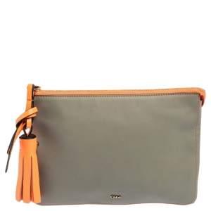 Chloe Grey/Orange Leather Top Zip Pouch