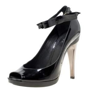 Chloe Black Patent Leather Bow Detail Ankle Strap Peep Toe Pumps Size 37