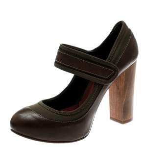 حذاء كعب عالي كلوي نعل سميك كعب عريض ماري جين قماش كاكي وجلد بني مقاس 38
