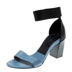 Chloe Blue/Black Leather Ankle Cuff Block Heel Sandals Size 38