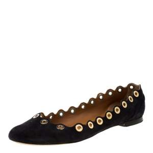 Chloe Dark Blue Suede Scalloped Grommet Ballet Flats Size 39.5