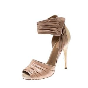 Chloe Beige Leather Ankle Cuff Sandals Size 39.5