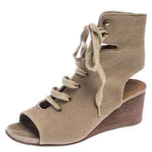 Chloe Beige Canvas Ghillie Lace Up Wedge Sandals Size 36