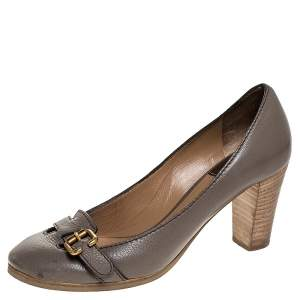 Chloe Grey Leather Buckle Detail Block Heel Pumps Size 37