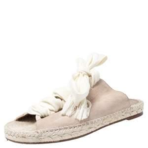 Chloe Pink Suede Harper Lace Up Flat Espadrille Slides Size 38