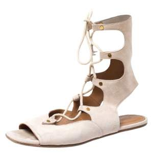 Chloe Beige Suede Gladiator Ankle Wrap Flap Sandals Size 38.5