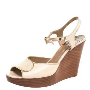 Chloe Beige Leather Peep Toe Ankle Strap Wooden Wedge Platform Sandals Size 38.5