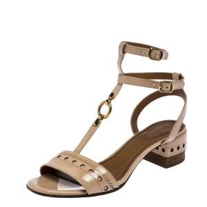 Chloe Beige Brogues Patent Leather Perry T Strap Sandals Size 38