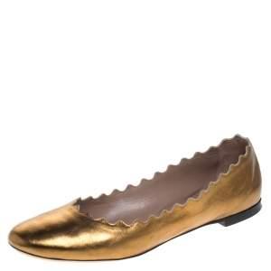 Chloe Gold Leather Lauren Scalloped Ballet Flats Size 39