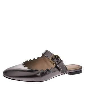 Chloe Metallic Grey Foil Leather Lauren Buckle Strap Flat Slides Size 36