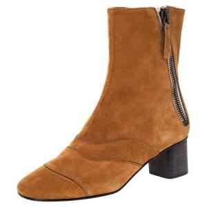 حذاء بوت كاحل كلوي كعب عريض سويدي بني مقاس 37.5