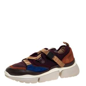 Chloe Multicolor Leather And Fabric Sonnie Low Top Sneakers Size 38