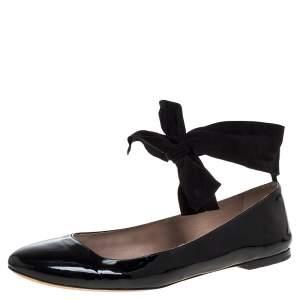Chloé Black Patent Leather Ankle Wrap Ballet Flats Size 40.5